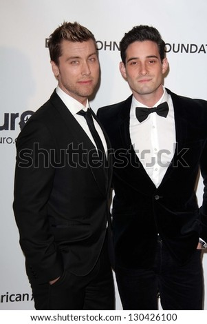 Lance Bass and Michael Turchin at the Elton John Aids Foundation 21st Academy Awards Viewing Party, West Hollywood Park, West Hollywood, CA 02-24-13 - stock photo