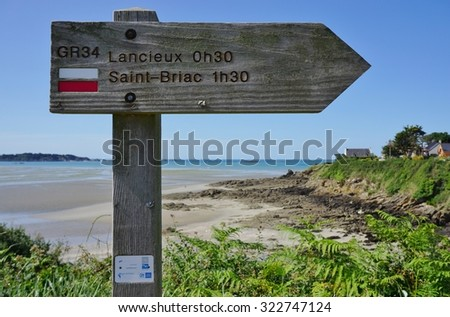 LANCIEUX, FRANCE -6 JULY 2015- Lancieux is a seaside resort town with a beautiful beach on the Atlantic Ocean on the northern coast of Brittany in the Cotes d Armor in France.