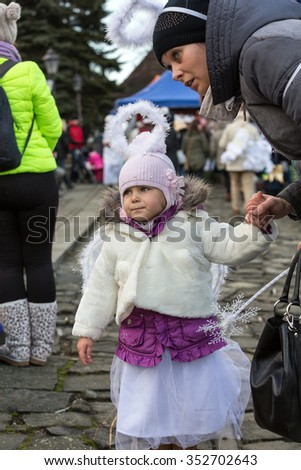 LANCKORONA, POLAND - DECEMBER 12, 2015: the winter-festival Angel in the country town. In this original way for many years now the country town promotes itself before tourists. Lanckorona, Poland