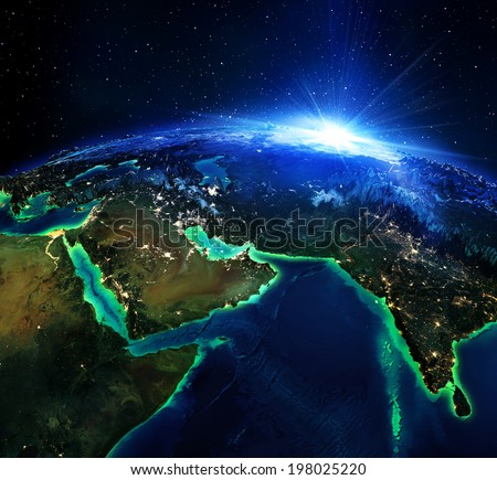 land area in Arabians, and India the night - maps elements of this image furnished by NASA - stock photo