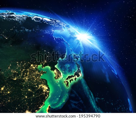 land area in japan the night - maps elements of this image furnished by NASA  - stock photo