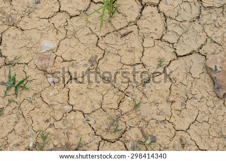 Land crack due to drought - stock photo