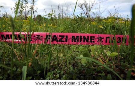 land mines field - stock photo