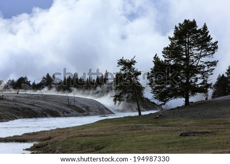 Land of live geysers, Yellowstone national park, USA - stock photo
