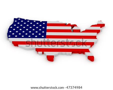 Land of United States of America painted in color of US flag isolated on white background. High quality 3d render. - stock photo