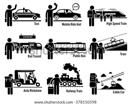 Land Public Transportation Vehicles and People Set - Taxi, Mobile Ride Hail, High Speed Train, Rail Transit, Public Bus, Tram, Auto Rickshaw, Railway Train, and Cable Car - stock photo