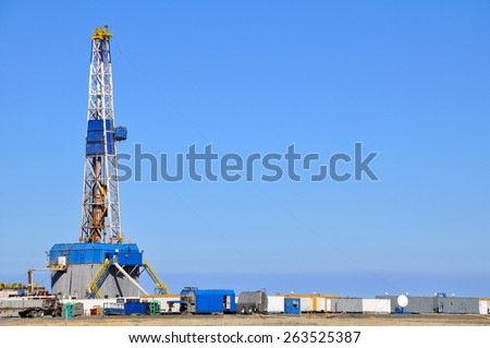 Land rig during the drilling operation