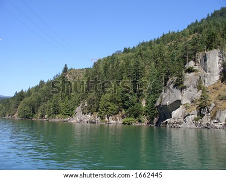Land sloping into the water - stock photo