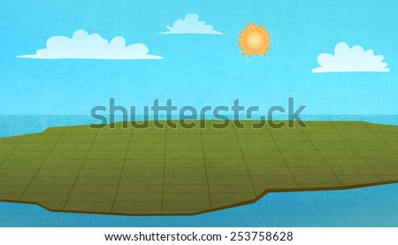 Land territory from above on a sunny day. Digital raster illustration. - stock photo