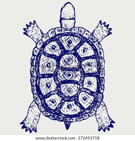 Land turtle. Testudo hermanni. Doodle style. Raster version - stock photo