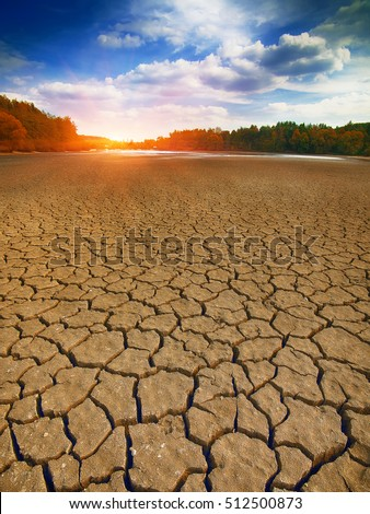 Land with dry and cracked ground. Climate change, drought, cracked ground
