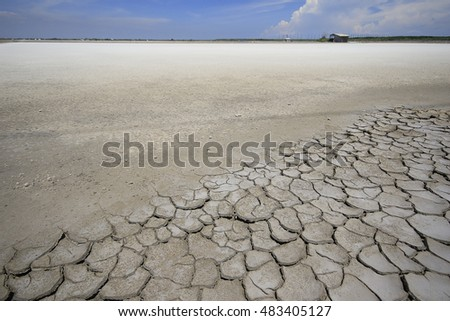 Land with dry and cracked ground / sea ??salt