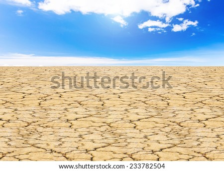 land with dry cracked ground and sunlight sky background