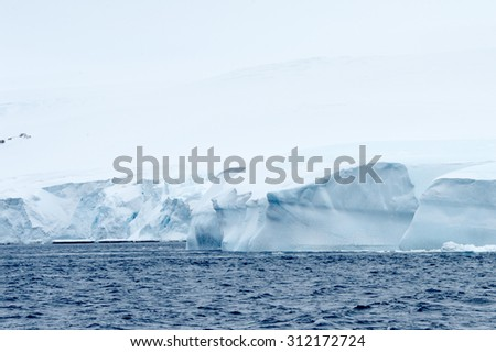 Landcape of the ice formations of Antarctica
