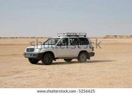 Landcruiser captured during safari in Tunisia - stock photo
