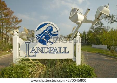 Landfall Sign to suburb after Hurricane Ivan hits in Pensacola Florida - stock photo