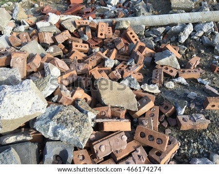 Landfill cement and brick pile