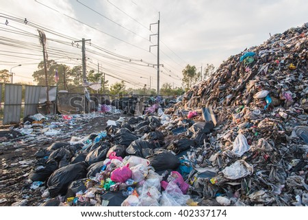 Landfill in city,Thailand - stock photo