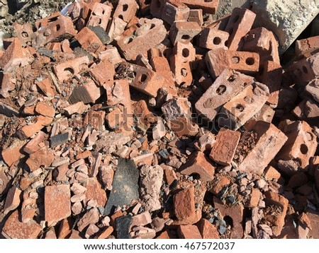 Landfill recycle brick pile