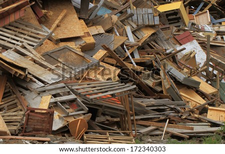 landfill wood recycling pile