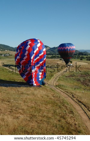 Landing Hot Air Balloons in Napa Valley - stock photo