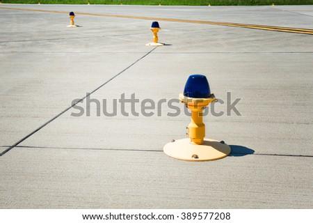 Landing lights on the runway close up - stock photo