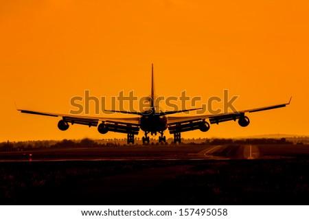 Landing plane - stock photo