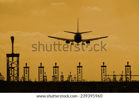landing plane in brussels - stock photo
