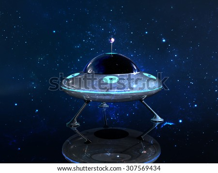 Landing UFO in dark space background - stock photo