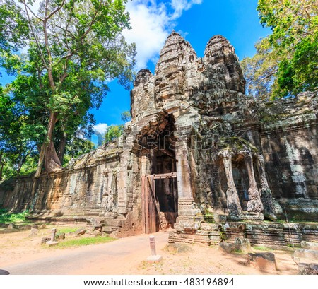 Landmark Ancient City Bayon Temple in siem reap of Cambodia.