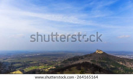 Landmark Castle Hohenzollern in the Swabian Alb Region of Baden Wurttemberg, Germany. Early Spring picture. Landscape Panorama - stock photo