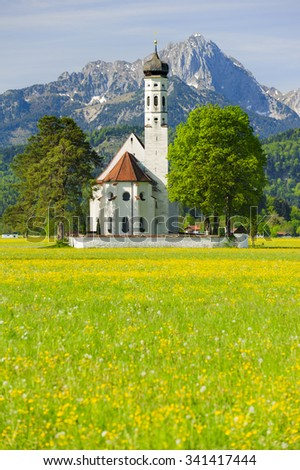 landmark church St. Coloman in Bavaria nearby city Fuessen