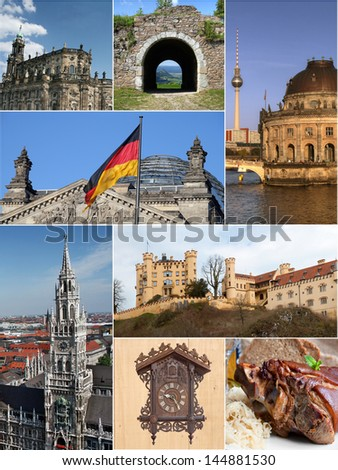 Landmark collage of Germany with traditions in architecture, art work and food specialty