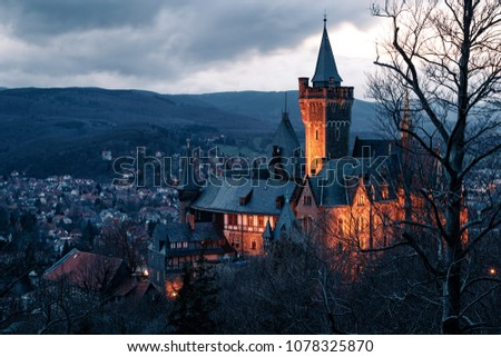 Landmark is the castle of Wernigerode, with lighting