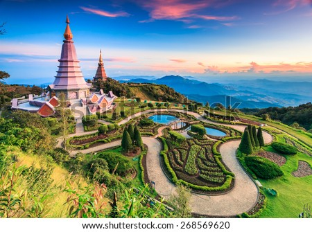 Landmark landscape  pagoda in doi Inthanon national park at chiang mai Thailand, They are public domain or treasure of Buddhism, no restrict in copy or use  - stock photo
