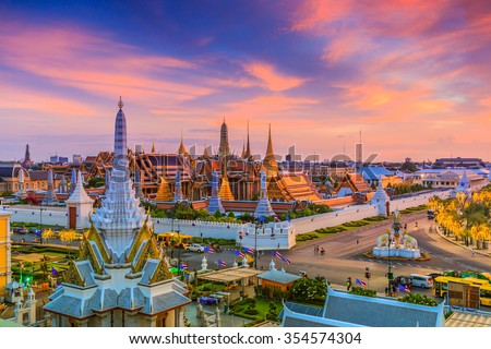 Landmark of Bangkok city Temple of the Emerald Buddha Bangkok, Asia Thailand - stock photo