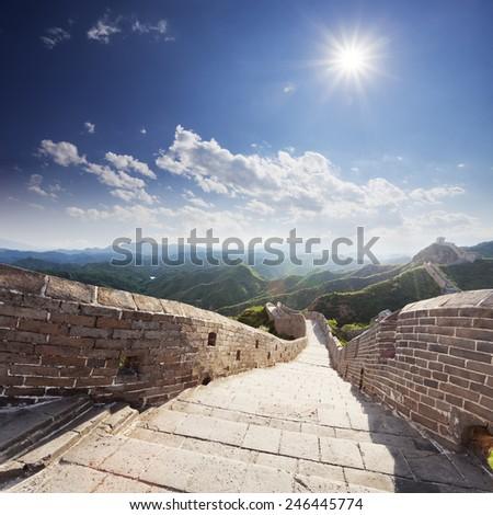 landmark of china,great wall during sunset - stock photo