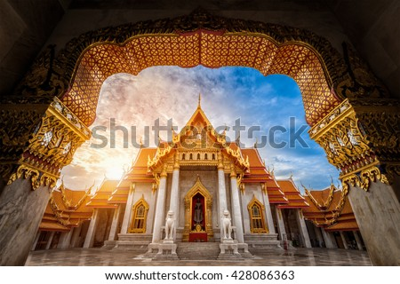 Landmark of Marble Temple of Bangkok during sunrise in the morning, Thailand.