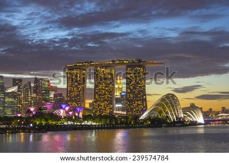 Landmark of Singapore on twilight cityscape in traveling zone - stock photo