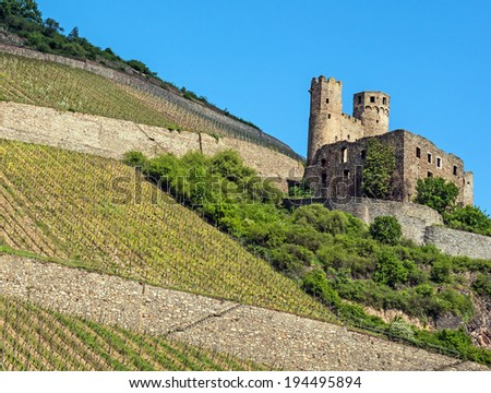 Landmark Rhine castle surrounded by vineyards in the famous Rhine Gorge north of Rudesheim, Germany - stock photo