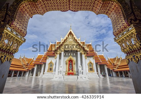 Landmark,The Marble Temple, Wat Benchamabopit Dusitvanaram in Bangkok, Thailand, Landmark Thailand - stock photo