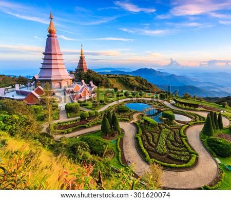 Landmark unseen thailand  pagoda in Inthanon national park Thailand - stock photo