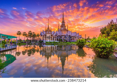 Landmark wat thai, sunset in temple Thailand,They are public domain or treasure of Buddhism, no restrict in copy or use  - stock photo