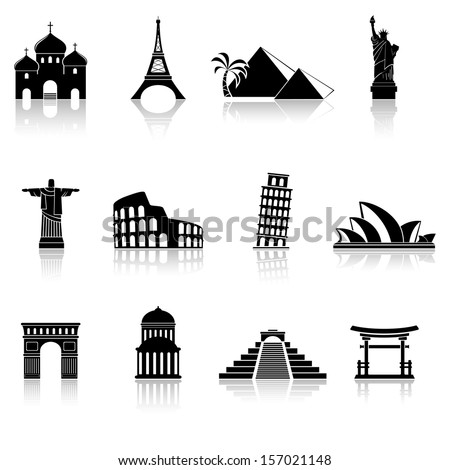 Landmarks abstract silhouettes - stock photo