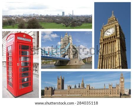 Landmarks collage of the city of London, UK - stock photo