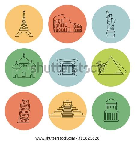 Landmarks flat icons set - stock photo