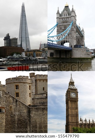 Landmarks in London, postcard - stock photo
