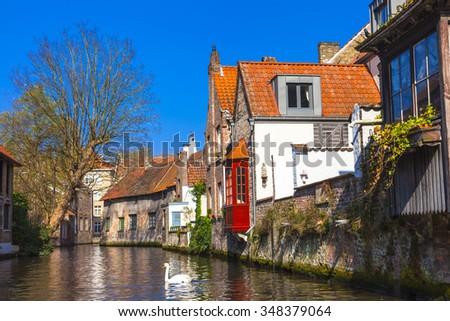 landmarks of Belgium - beautiful Brugge - stock photo
