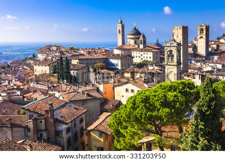 landmarks of Italy - beautiful medieval town Bergamo, Lombardy,  - stock photo