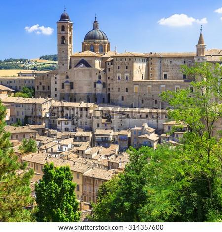 Landmarks of Italy - Urbino, UNESCO site - stock photo